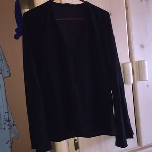 Black Topshop blouse with wide sleeves